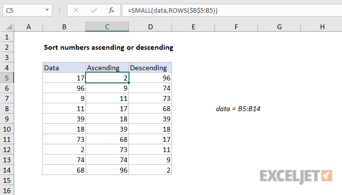Excel formula: Sort numbers ascending or descending