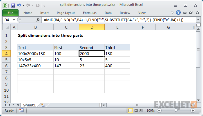 Excel formula: Split dimensions into three parts