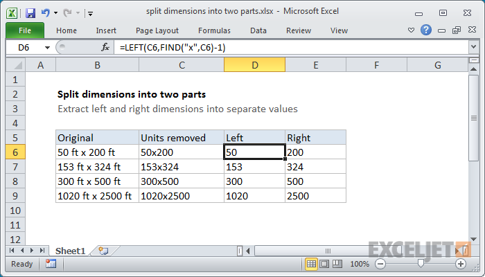 Excel formula: Split dimensions into two parts
