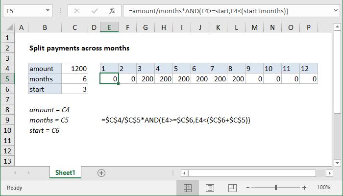 Excel formula: Split payment across months