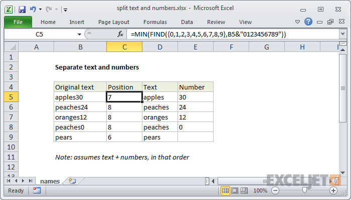 Excel formula: Split text and numbers | Exceljet