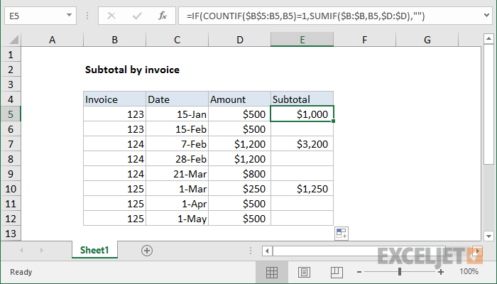 Excel Formula Subtotal By Invoice Number Exceljet - How to make your own invoice in excel