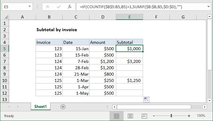 Excel formula: Subtotal by invoice number | Exceljet