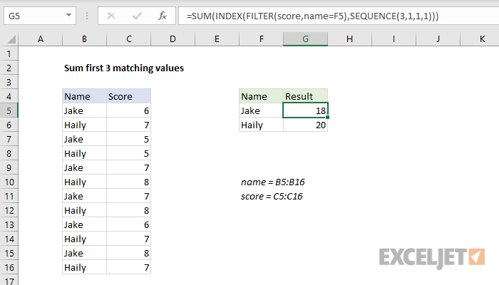 Excel formula: Sum first n matching values