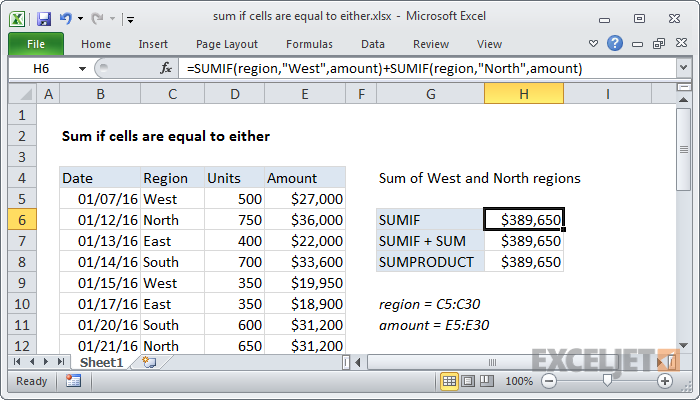 Excel Formula Sum If Equal To Either X Or Y Exceljet
