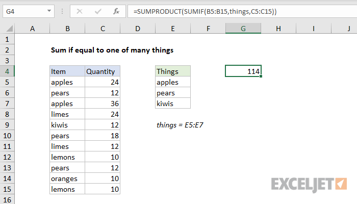 Excel formula: Sum if equal to one of many things