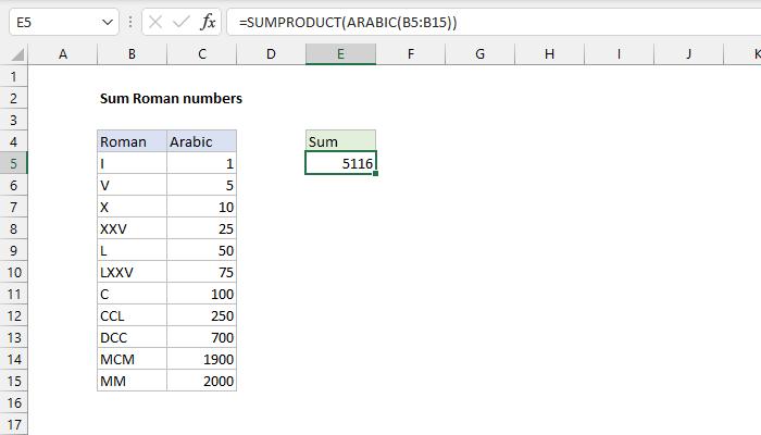 Excel formula: Sum Roman numbers