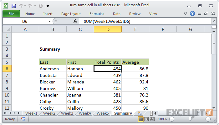 Excel formula: 3D sum multiple worksheets | Exceljet