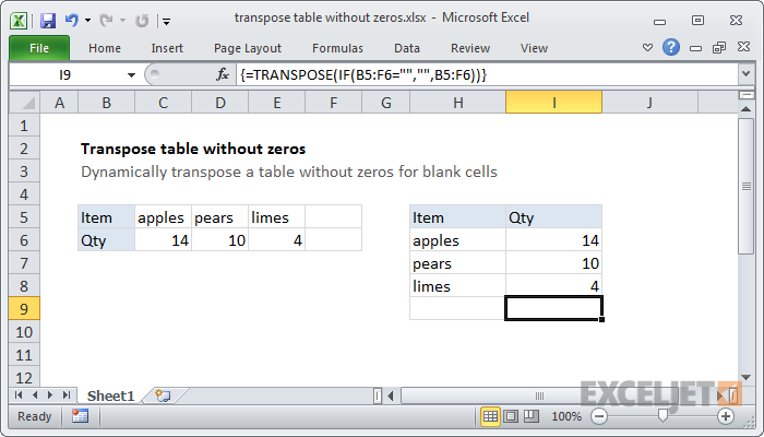 Excel formula: Transpose table without zeros