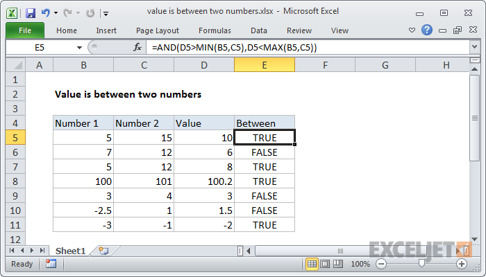 Excel formula: Value is between two numbers