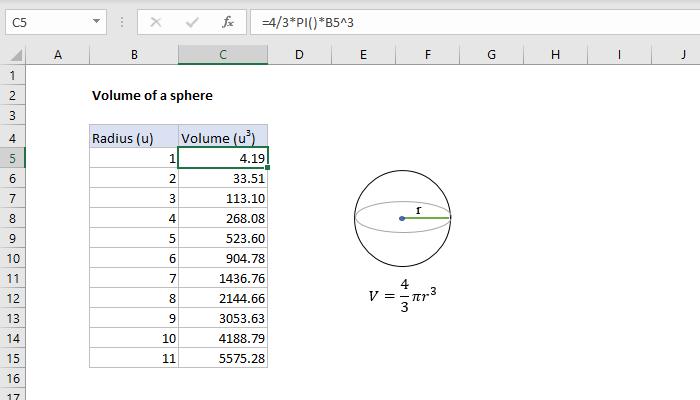 Excel formula: Volume of a sphere