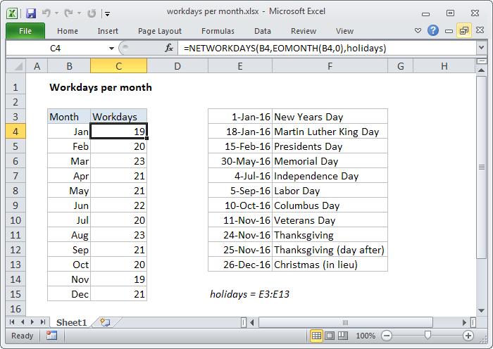 Excel formula: Workdays per month