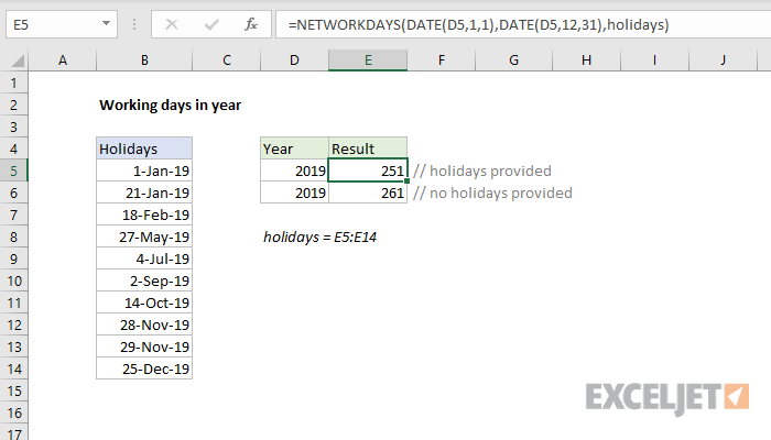 Excel formula: Working days in year