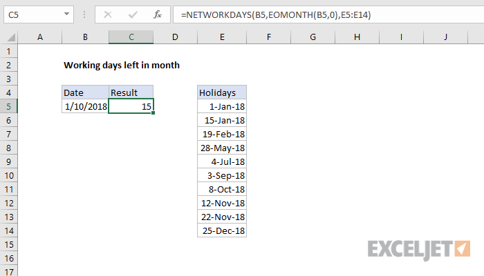Excel formula: Working days left in month