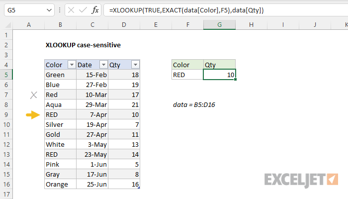 Excel formula: XLOOKUP case-sensitive