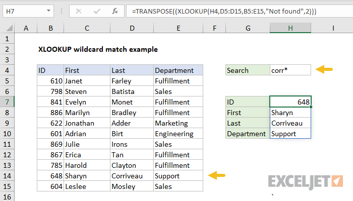 Excel formula: XLOOKUP wildcard match example