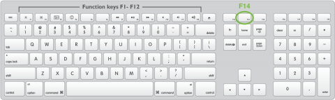 Mac Extended Keyboard with F14 key highlighted