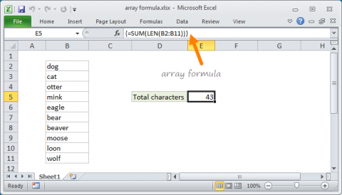Example array formula in Excel