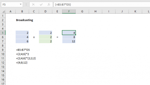 Excel formula broadcasting example