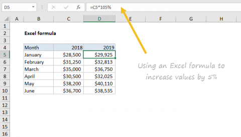 Example of Excel formula