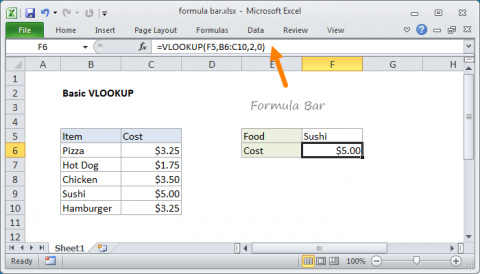 Example of Excel Formula Bar