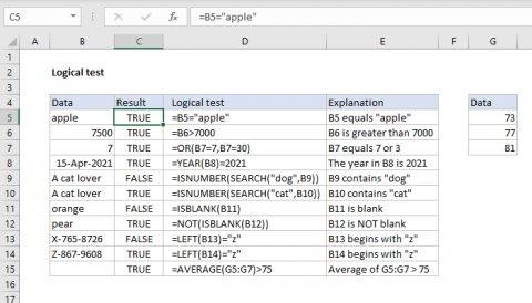 Examples of logical tests with Excel formulas