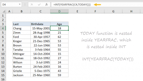 Example of nesting in an Excel formula