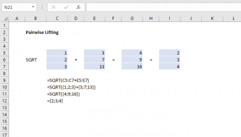 "Example of ""pairwise lifting"", an array calculation behavior in Excel"