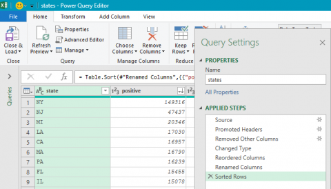 The Power Query interface