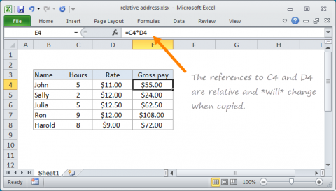 Example of Relative Address in Excel