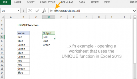 Example of _xlfn with UNIQUE function