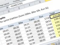 Excel formula: Sum race time splits