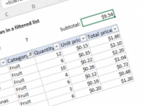 Excel formula: Sum visible rows in a filtered list