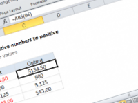 Excel formula: Change negative numbers to positive