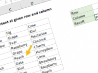 Excel formula: Get cell content at given row and column