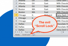 The evil scroll lock enabled in Excel 2010