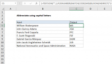 Excel formula: Abbreviate names or words