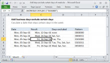 Excel formula: Add days exclude certain days of week