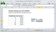 Excel formula: Calculate shipping cost with VLOOKUP
