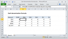 Excel formula: Cash denomination calculator