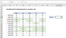 Excel formula: Conditional formatting based on another cell