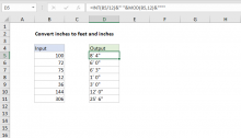 Excel formula: Convert inches to feet and inches