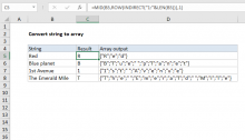 Excel formula: Convert string to array