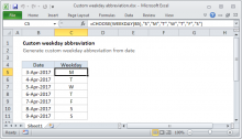 Excel formula: Custom weekday abbreviation