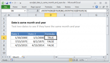 Excel formula: Date is same month and year