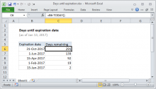 Excel formula: Days until expiration date
