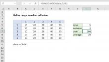 Excel formula: Define range based on cell value