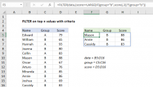 Excel formula: FILTER on top n values with criteria