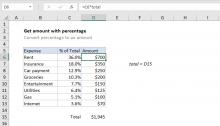 Excel formula: Get amount with percentage