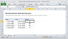 Excel formula: Get days between dates ignoring years